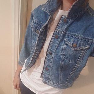 Vintage GAP Zip up & Button Cropped Jean Jacket